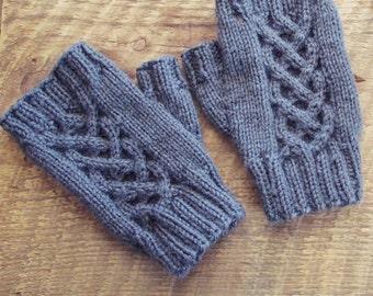 Fingerless Gloves, Grey Fingerless Gloves, Grey Cabled Gloves, Handmade Knit Gloves, Handmade Hobo Gloves, Handmade, Knit, Gloves, Mittens
