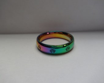 Hand stamped Stainless Steel Paw Prints Ring, 6mm~ Sizes 3-16 ~ Rainbow Comfort Fit Band, 2 different styles to choose from