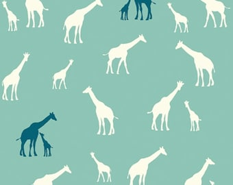 Serengeti - Giraffe Fam Teal - Jay-Cyn Designs - Birch Fabrics (SG-11-Pool) - Organic Cotton