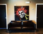 Grateful Dead Art MADE TO ORDER Large Wall Art Canvas Painting 48x48 Jerry Garcia Art Rock Art Skull and Roses Art Best Selling Items