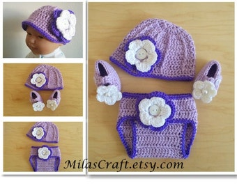 Ready to ship! Crochet Baby Girl Set: Hat,Diaper Cover,Booties Mary Jane,Baby Shower gift,Newborn Baby Girl Coming home outfit, Photo prop