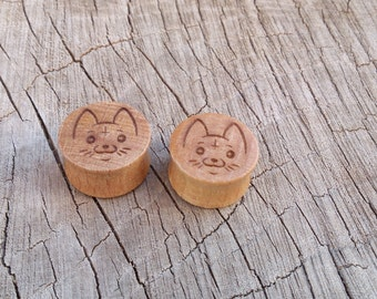 Cute Cat wooden gauges plugs  sizes are in MM  10, 12, 14, 18, 20, MM 00 Gauge cc