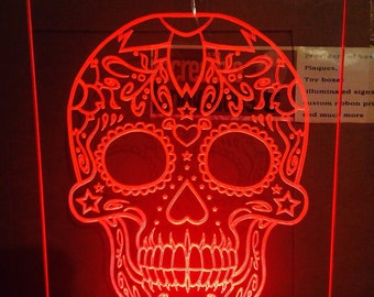 candy suger skull light up sign illuminated lamp decorate gothic day of dead