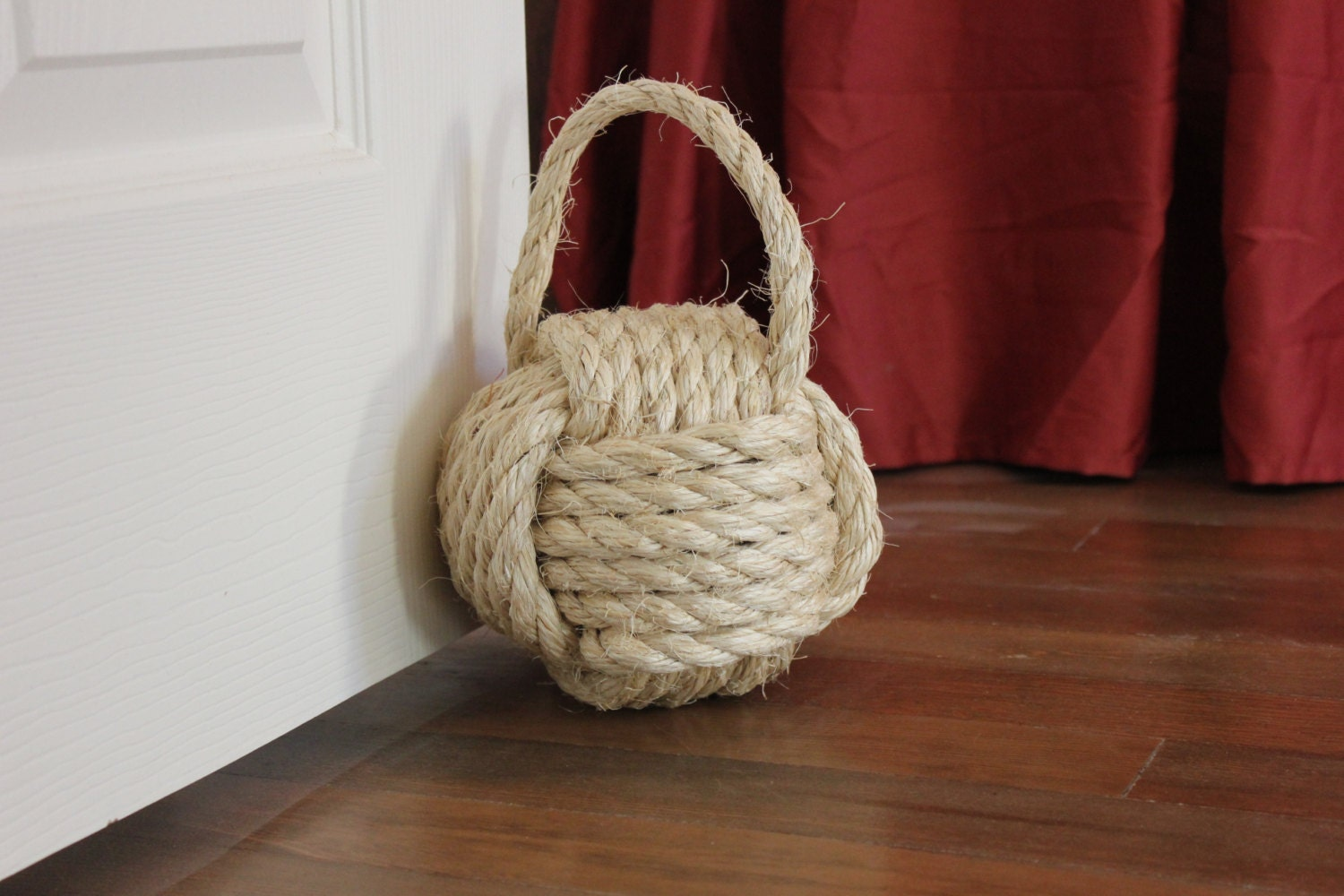 Nautical rope door stop with handle large by highplainsknotwork - Knot door stopper ...