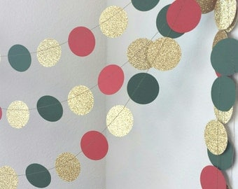 Red Green Gold Circle Garland - Christmas Garland - Gold Glitter Garland - Holiday Party Decor