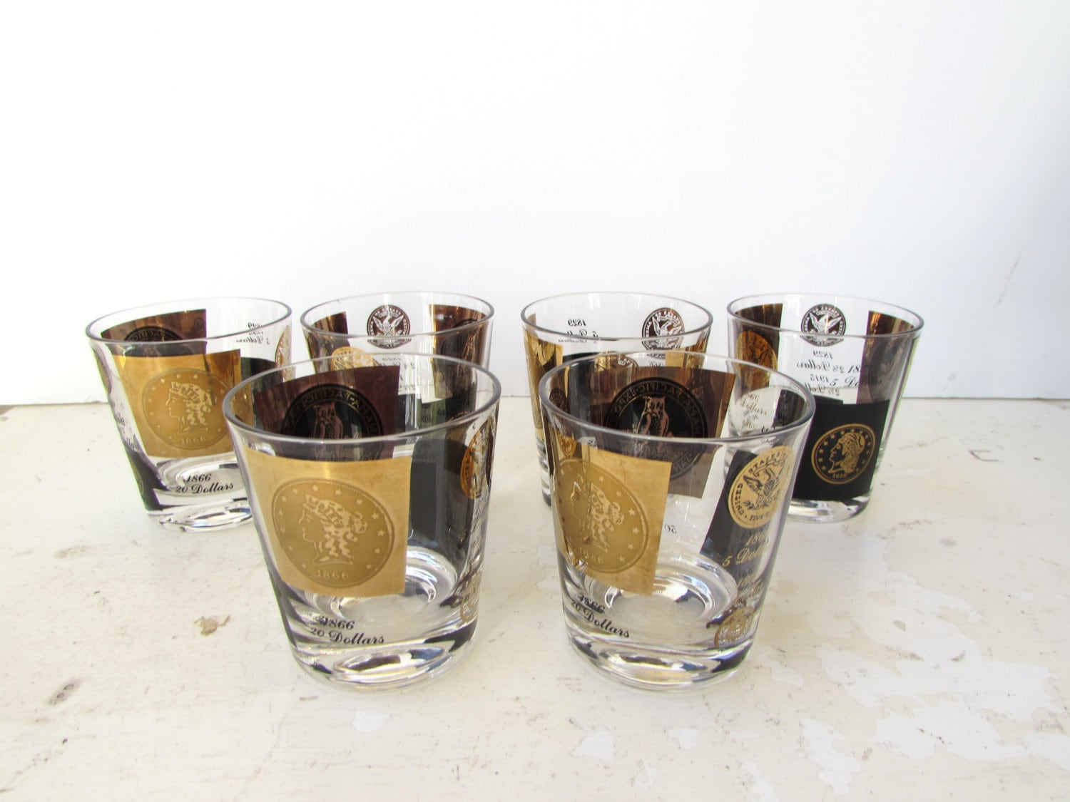 mid century barware set of 6 black and gold by