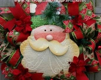 Santa Claus Traditional Deco Mesh Christmas Wreath