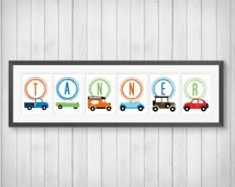 Classic Car Print - Personalized Name Print - Boy's Room Decor - Playroom - Car Nursery - Cars and Trucks Decor - Individual 4x6, 5x7, 8x10