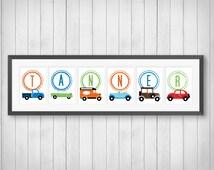 Classic Car Print - Personalized Name Print - Boy's Room Decor - Playroom - Car Nursery - Cars and Trucks Decor - Individual 4x6, 5x7, 8x10