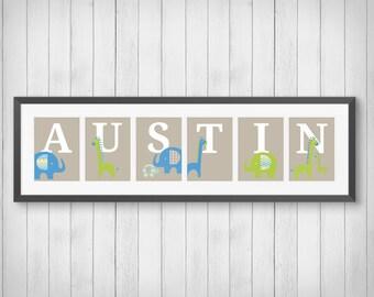 Nursery Art - Personalized Name Print, Boys Room Decor, Playroom, Elephant Nursery, Giraffe Decor, Individual 4x6, 5x7 or 8x10 Prints