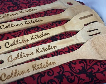 Personalized Set of 5 Custom Bamboo Wooden Spoons, Cooking Utensil, for Wedding, Birthday, Mom, Housewarming Gift