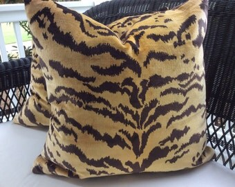 Scalamandre Pillow Cover in Le Tigre and Chocolate Velvet,