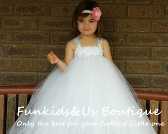 White Flower Girl Tutu Dress for Weddings, Pageants, Photos, Birthdays and special Occassion