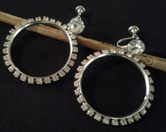 WONDERFUL Rhinestone Vintage Hoop Style Screw Back Earrings