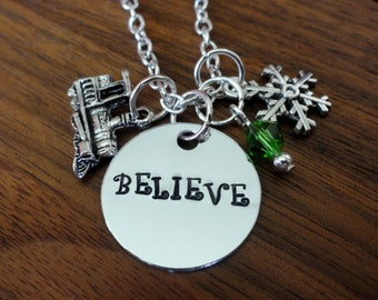 Believe necklace-Christmas Charm Necklace-Christmas gifts-Christmas Favorites-Train-Express-North Pole-Believe-Lead-