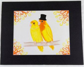 Dapper Lovebird Pair - original drawing