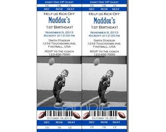Football Ticket Invitation All Star MVP Birthday Party Blue - Digital File