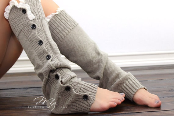 Gray Boot socks, Womens Knit Leg Warmers, Womens Boot Socks, Leg Warmers, Boot Cuffs, Lace Trim Leg Warmers Buttons, My Fashion Creations