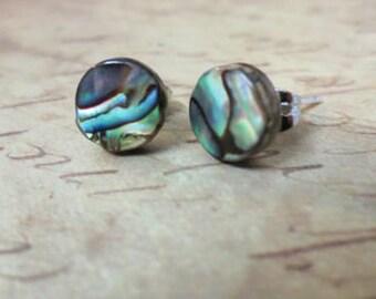 Abalone Stud Earrings, Natural paua shell earrings, Post earrings,  Paua earrings,  Abalone jewelry