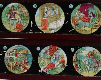 Fairytale Glass Slides Magic Lantern Colored Slides Victorian Entertainment Snow White and The Seven Dwarfs Upcycling Potential Night Light