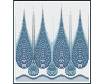 Fractal 2 - Blue Droplets - Counted Cross Stitch Pattern (X-Stitch PDF)