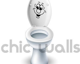 Toilet Seat Funny Faces Kids Bathroom Removable Vinyl Decal Sticker