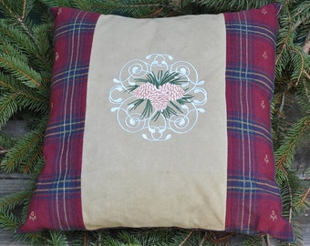 Pinecone Emboidered  Pillow Cover