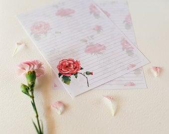 Printable Note Paper - A5, floral design, instant download