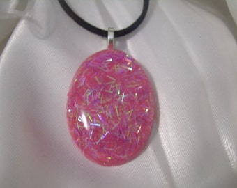 Think Pink! Faux Dichroic Oval Pendant