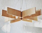 Hanging lamp with natural wood texture (28x28 inches), plywood chandelier