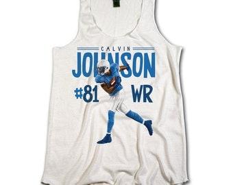 Calvin Johnson Officially Licensed NFLPA Detroit Lions Womens Tank Top S-XL Calvin Johnson #81