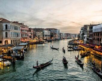 Venice Grand Canal at Sunset Photograph, Italian Gondolas on Water, Italy Fine Art, Wall Decor, Gondoliers Home Decor : Venice in Twilight