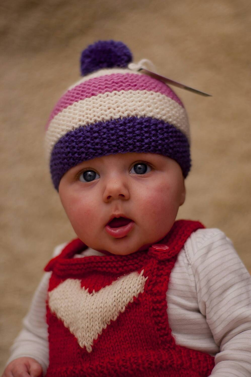 Newborn hat baby knitted hat striped Bobble pompom hat in