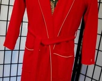 Pierre Cardin Men's Red Vintage Dacron Polyester Robe
