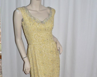 1950's Beaded Brocade Yellow Wiggle Dress made in British Crown Colony for The Exclusive French Shop in Filene's Boston