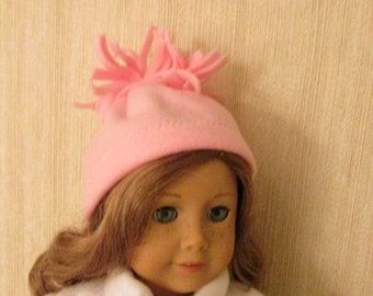 "Handmade Fleece Hat Pink American Girl Doll Clothes 18"" Doll"