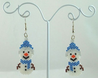 Snowman Beaded Earrings - Winter Jewelry - Christmas Jewelry