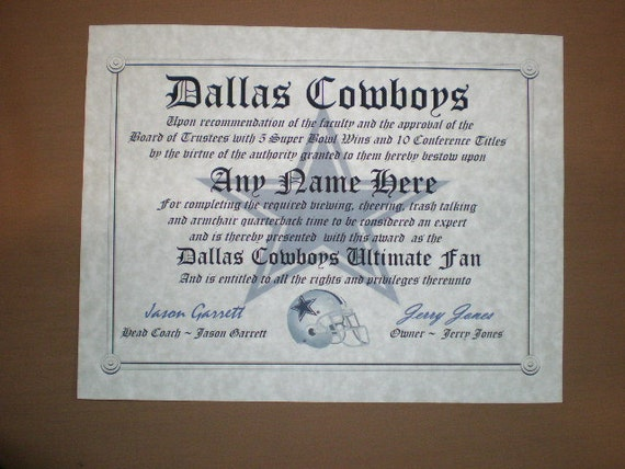 dallas cowboys football fan certificate diploma gift
