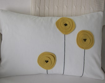 Light Yellow Wool Felt Poppy Flowers & Hand Embroidered Stems on Cream Cotton Twill Lumbar Pillow Cover 12 x 18 Inches