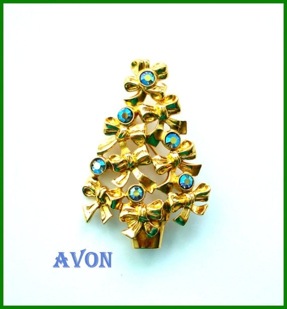 Avon christmas tree brooch pin bows and aurora by