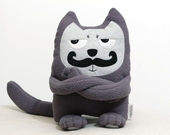 Soft Toy Cat, Moustached Cat, Stuffed Toy, Cat Plush, Eco Friendly Toy,