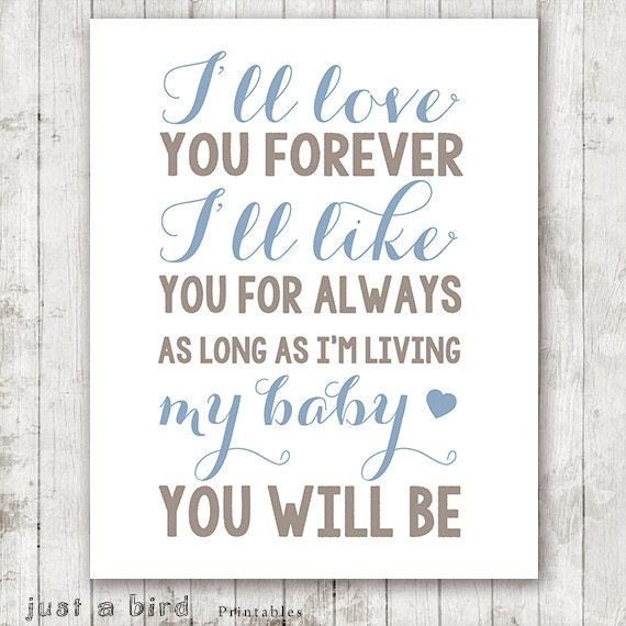 I Ll Love You Forever Quote: I'll Love You Forever Quote Taupe Blue Nursery Decor