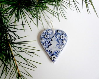 ceramic blue heart-heart Christmas tree decoration-decoration for Christmas ceramic-heart gift for Christmas