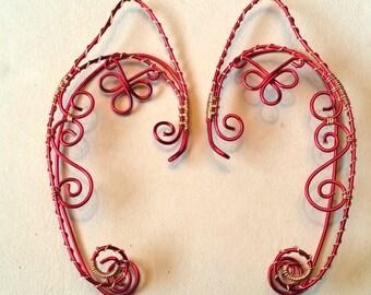 Renaissance Fairy / Elf Ear Cuffs Red/Gold Wire Wrap Cosplay Ren Faire