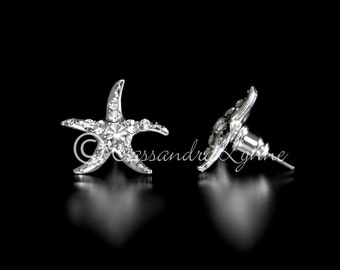 Beach Rhinestone Starfish Earrings Wedding Bridal Accessories Silver Post back Bride Bridesmaid Flower Girl
