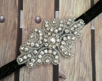 Rhinestone headband, black headband, flower girl headband, wedding headband, dressy headband, formal headband, halo, baby headband,