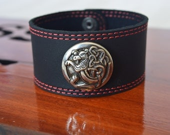 Hand Made Leather Bracelet with Celtic Dragon Medallion
