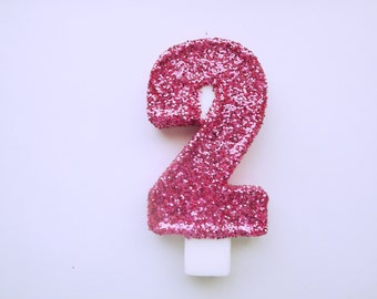 Large Pink Glitter Number 2 candle-Birthday Party Candle-Anniversary-Sparkle and Glam-Princess Party-Girl Birthday-2nd Birthday-Toddlers