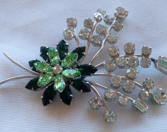 Made in Austria Vintage 1930s Emerald and Peridot Green Crystal Rhinestone Flower Spray Brooch