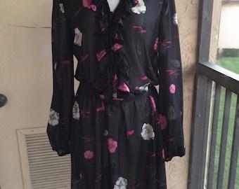 Hay Pence Black Floral ruffled dress